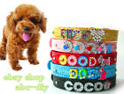 Personalized Sequins PU Leather Dog Pet Collar Crystal Name Free Shipping