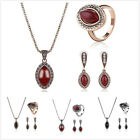 Wedding Bridal Party Prom Leaf Shape Gemstone Chain Necklace Ring Jewelry Set L