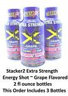 Three 2 oz Bottles of Stacker2 Energy Shots ~ Berry -or- Grape Flavored