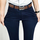 New Mens Slim Fit Casual Straight Pants Cotton Business Stretch Jeans Trousers
