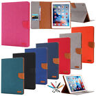 "Magnetic Flip Canvas Wallet Card Case Stand Cover For iPad Pro 9.7""/Air 2/Mini 4"