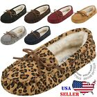 Women's Moccasins Slip On Indoor Outdoor Shoe Slipper Fur Loafer FREE SHIPPING