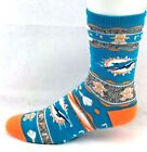Miami Dolphins Football Adult Ugly Christmas Sweater Gingerbread Crew Socks