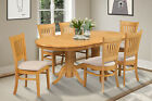 OVAL DINETTE DINING ROOM TABLE SET SOFT-PADDED SEAT IN OAK FINISH