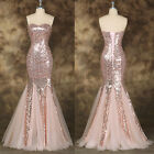 MERMAID Long Sequins Bridesmaid Prom Gowns Ball Evening Cocktail Wedding Dress