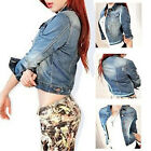New Vintage Long Sleeve Jean Coat Womens Slim Denim Short Casual Jacket Outwear