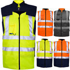 HI VIZ VIS VISIBILITY FLEECE REVERSIBLE BODY WARMER GILET SLEEVELESS WAISTCOAT