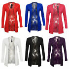 New Womens Long Sleeve Lace Back Open Slouch Boyfriend Pocket Cardigan 8-14