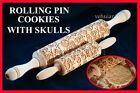 SKULLS PRINTS Wooden Rolling Pin Cookie Vintage Handles Pattern Embossing Gift