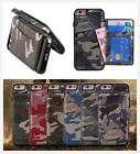 camouflage hybrid TPU & Leather Case with card holder for iphone 7 7P Samsung