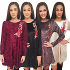 Womens Crushed Velvet Velour Ladies Rose Floral Applique Long Sleeve Swing Dress