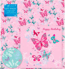 Butterfly Birthday Gift Wrap & Tag (INC FREE CARD) - Wrapping Paper Girl Pink
