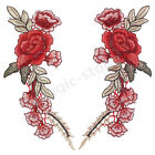 2x Rose Flower Applique Sew Iron on Patches Collar Badge Embroidered Fabric