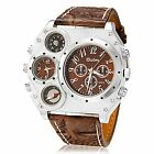 YPS Men  Compass Thermometer Big Dial PU Leather Band Quartz Analog WristWatch