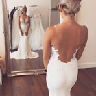 Mermaid Backless White Lace Sleeveless Wedding Dresses Long Bridal Gown Custom
