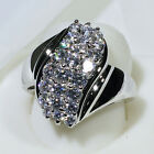 18K White Gold Filled 4.35CT Clear CZ Women Vintage Jewelry Cluster Ring R0505