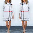 Women Plaid Print Button Down Long Sleeve tunic Shirt Flannel Mini Dress