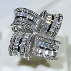 18K White Gold Filled AAA Clear Baguette CZ Cluster Cocktail Royal Ring R7156