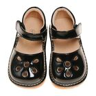 Girl's Leather Toddler Black Petal Patent Style Squeaky Shoes Sizes 1 to 2