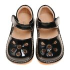 Girl's Leather Toddler Black Petal Patent Style Squeaky Shoes