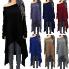 Womens Long Sleeve Knitted Baggy Off Shoulder Mini Dress FALL Sweater Plus Size