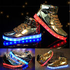 Unisex LED Light Up Trainer Lace Up High Top Luminous Casual Shoes Sneakers