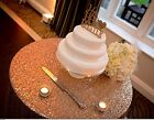 """50"""" wide/Yard Rose Gold 3mm Sequins Fabric Tablecloth Wedding Backdrop Decor"""