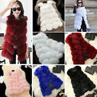 Women's Warm Gilet Outwear Long Slim Vest Faux Fox Fur Waistcoat Jacket Coat New