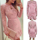 US Women Bodycon Slim Evening Cocktail Party Long Sleeve Lace Floral Mini Dress