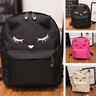 Womens Cat Pattern Casual Backpack Shoulder Canvas School Bags For Teenage Girls