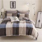 Checked King Single Double Size Quilt Doona Duvet Cover Set Pillowcase Patchwork