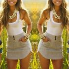 Womens #B Summer Casual Patchwork Sleeveless Party Evening Cocktail Short Dress