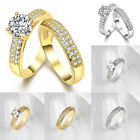 2Pcs Women Men Topaz Engagement Wedding Ring Set White Gold Plated Jewelry 5 6 9