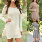 Womens Long Sleeve Knitted Sweater Pullover Swing Skater Dress Jumper Top