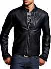 New Genuine Leather Jacket Black Biker Slim fit Jacket Motorcycle Jacket AB82