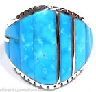 Genuine Sleeping Beauty Turquoise Inlay 925 Sterling Silver Men's Ring  Sz 12