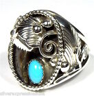 Sleeping Beauty Turquoise & 925 Sterling Silver Handmade Men's Ring size 11