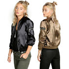 New Retro Women Fashion Autumn Uniform Zipper Loose Coat Baseball Bomber Jackets
