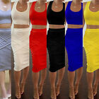 Sexy Womens Bandage Two Piece Crop Top + Midi Skirt Ladies Slim Party Dress Set