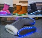 Women Mother Daughter Family LED Light Up Snow Boots Winter Kids Girls Fur Boots