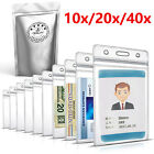 20x/40x ID Card Holder Clear Plastic Badge Resealable Waterproof Business Case