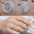 Fashion 18k White Gold Plated Jewelry Wedding Engagement Silver Ring Size 6-10