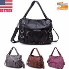Women Ladies Washed Leather Tote Purse Handbag Crossbody Shoulder Messenger Bag