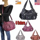 Women Ladies Washed Leather Tote Purse Handbag Crossbody Messenger Shoulder Bag