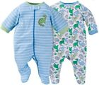 GERBER BABY BOYS 2-Piece Sleep 'N Plays Zippered Front Baby Shower Gift - Dino