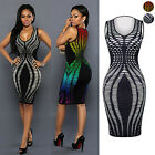 Women Sexy Sleeveless Printted Slim Package Hip Bodycon Nightclub Party Dresses
