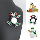 Women Men Xmas Snowman Penguin Brooch Pin Jewelry Christmas Wedding Party Gifts