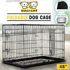 Dog Pet Cage Portable Collapsible Metal Crate Kennel House Playpen w /ABS Tray
