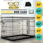 Dog Pet Cage Portable Collapsible Metal Crate Kennel House Playpen w/ABS Tray
