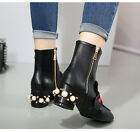New Design 2017 Metal Letter Decor Woman Ankle Boots Square Toe Thick Party Shoe